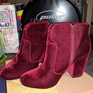 Maroon suede ankle boots